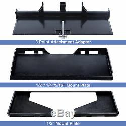 1/4 5/16 1/2 Skid Steer Mount Plate 3 Adapter Loader Quick Tach Attachment