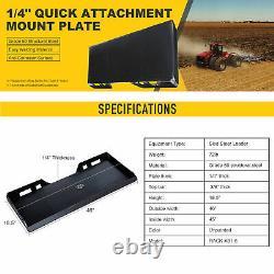1/4 Steel Quick Tach Attachment Mount Plate Kubota Bobcat Skidsteer Loader os