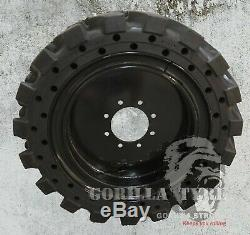 12x16.5 Solid Rubber Skid Steer Loader Tire with Comfort Ride Apertures- 4x Set