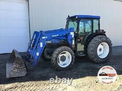 2001 NEW HOLLAND TN65D TRACTOR With LOADER, CAB, 4X4, 3 PT, 540 PTO, HEAT A/C