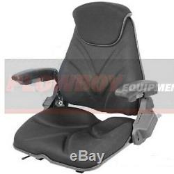 Black CLOTH Seat for TRACTOR LAWN MOWER SKIDSTEER LOADER FORKLIFT BACKHOE DOZER