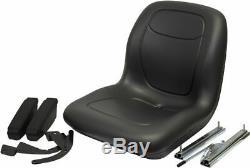 Black HIGH BACK SEAT with ARM REST SLIDE TRACK Ford New Holland Skid Steer Loader