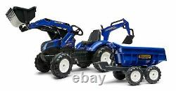 Falk New Holland T8 Pedal Tractor with Front Loader, Backhoe and Maxi tilt Tr