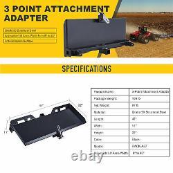 Hitch Front Loader Case Skidsteer 3 Point Attachment Adapter Skid Steer