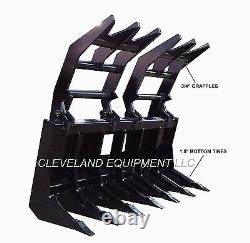 NEW 84 SEVERE-DUTY ROOT GRAPPLE RAKE ATTACHMENT Skid-Steer Loader Brush Rock 7
