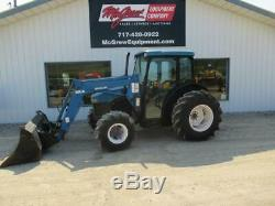NEW HOLLAND TN65D FARM TRACTOR With LOADER 4336 HRS 57 HP DIESEL CAB HEAT AIR 4X4