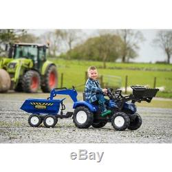 New Holland T8 Tractor With Front Loader Backhoes And Trailer For Children Toys