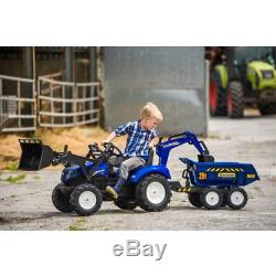 New Holland T8 Tractor with Front Loader, Backhoe and Trailer, Farm Vehicle, Toy